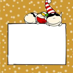 Christmas card with elves