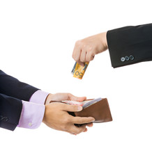Give money from businessman to another