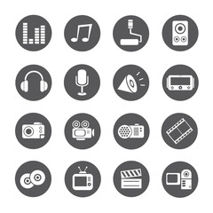 media icons, round buttons