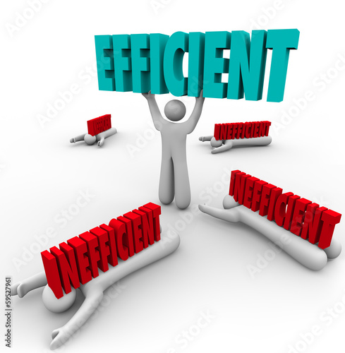 Efficient Vs Inefficient Words Man Lifting Word Others Crushed