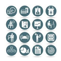 business management icons, web buttons, app buttons set