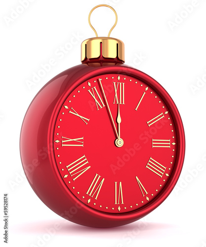 Happy New Year alarm clock countdown bauble Christmas ball