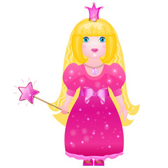 Little cute princess in a pink dress with a magic wand