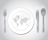 world map restaurant plate illustration design