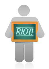 icon holding a riot message illustration design