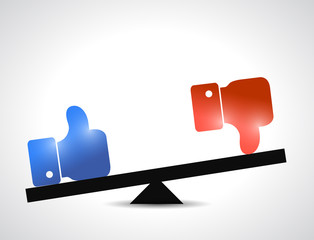 like and dislike balance illustration design