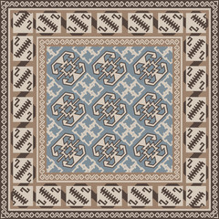 Design for square carpet in Oriental style