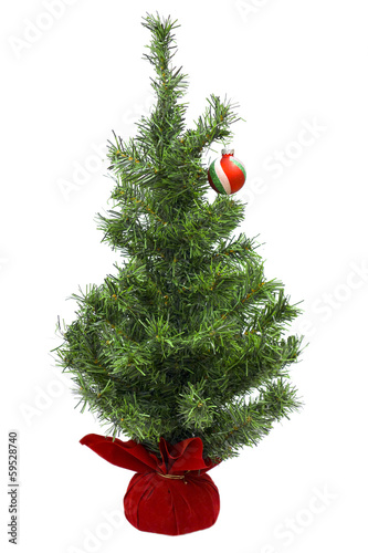 Christmas Tree with Bauble; on white