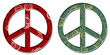 Peace Sign Red Black Green Golden Floral