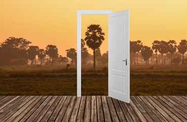 Landscape behind the opening door,3D