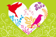 Spring heart,birds and plants