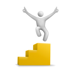 3d human jumping on yellow stair