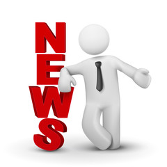 3d businessman presenting concept word news