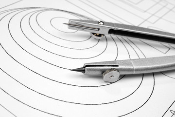 Drawing detail and compasses