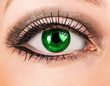 Beautiful woman green eye with long lashes
