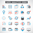 data management buttons, data analytic icons set