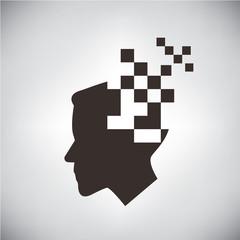 pixel man, digital man concept
