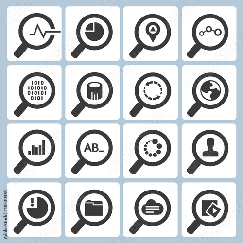 search icons, magnifying glass icons