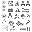 engineering icons, gears, tools