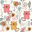 babies hand draw seamless pattern with cats