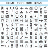 interior design collections, furniture icons set