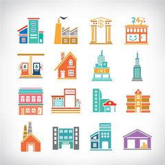 Cute collection of City, Town Buildings