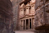 Ancient City of Petra and Treasury entrance with many layers on