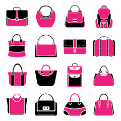 bag icons, pink color theme