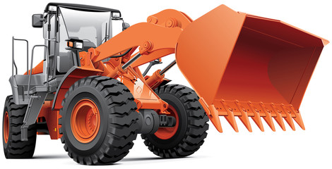 Orange front-end loader