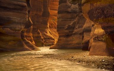 River Canyon in Wadi Mujib, Jordan