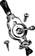 Figure retro old mechanical vibrator