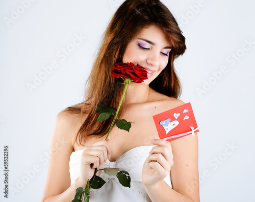 girl with rose and card