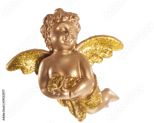 gold christmas angel and white backgroun