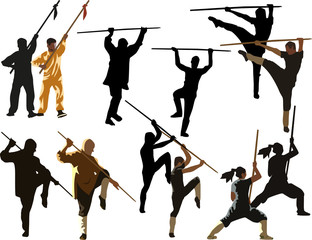 isolated kung fu men with pikes