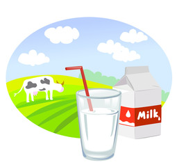 Box and glass with milk and rural landscape