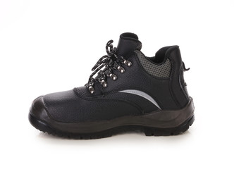 Black man's boot with gray bar.