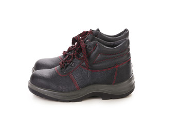 Black man's boots with red lace.
