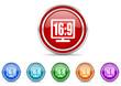 16 9 display icon vector set