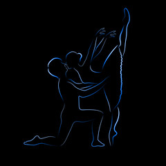 Shone silhouette of ballet couple on a black background