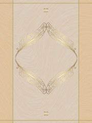Beige card with gold ornament, the idea for the menu, wedding ca