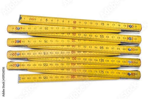 Wooden carpentry ruler isolated on white