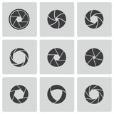 Vector black camera shutter icons set
