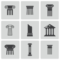Vector black column icons set