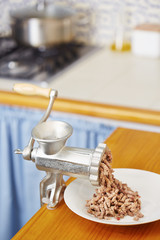 Meat grinder in domestic kitchen