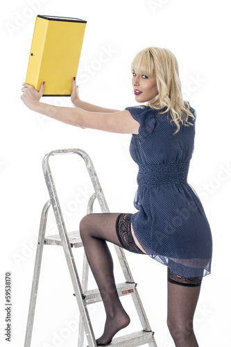 Sexy Young Business Woman Climbing Ladder