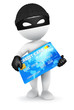3d white people thief with a credit card