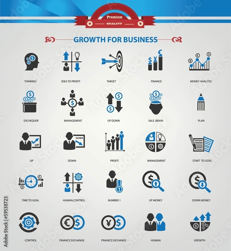 Strategy,Growth & Business analysis Icons,Blue version