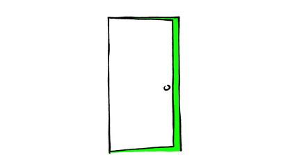 Set of hand drawn opening doors