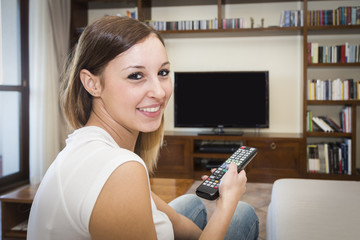 woman relax tv