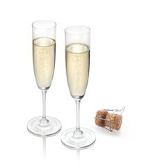 2 Champagnergläser mit Korken